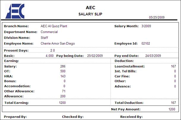 employee salary slip sample – Employee Salary Slip Sample
